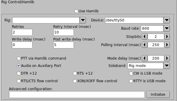 Fldigi Users Manual: Xcvr Control Configuration
